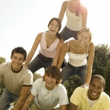 Teenagers in Human Pyramid