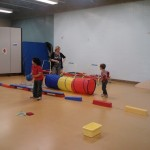 children playing in the fitness room