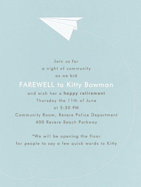 Invite to Kitty's Farewell